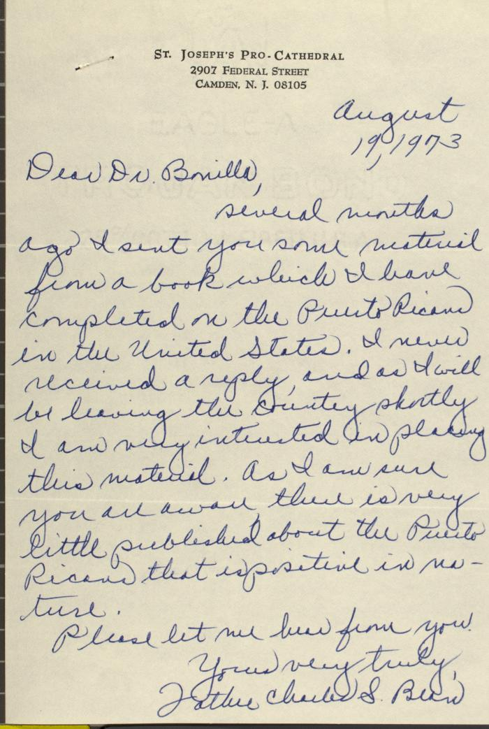 Correspondence from Father Charles S. Bean of St. Joseph's Pro-Cathedral
