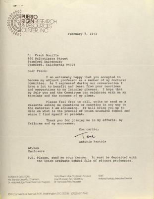 Correspondence from Antonia Pantoja