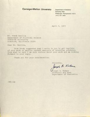 Correspondence from Carnegie-Mellon University