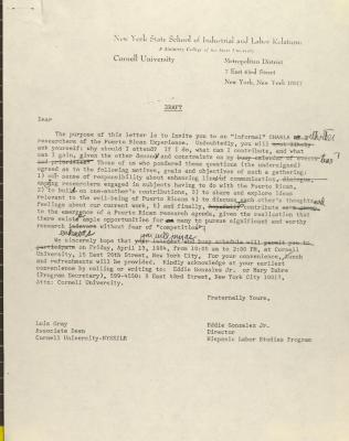 Correspondence from the New York State School of Industrial and Labor Relations at Cornell University