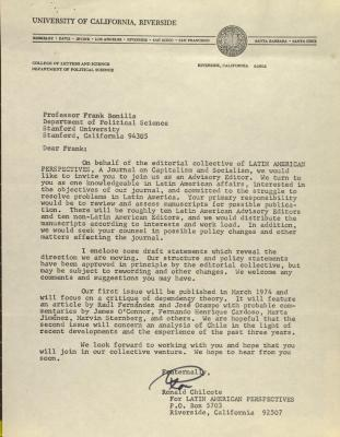 Correspondence from the University of California, Riverside