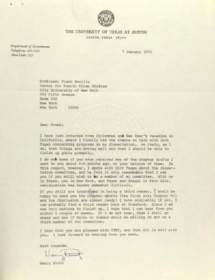 Correspondence from the University of Texas at Austin