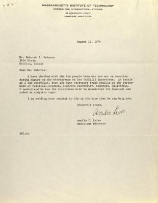 Correspondence from Massachusetts Institute of Technology