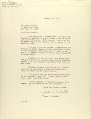 Correspondence from Jesse L. Calvillo