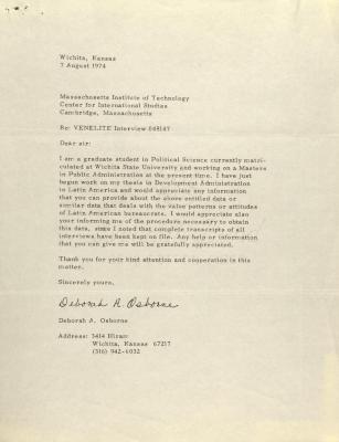Correspondence from Deborah A. Osborne