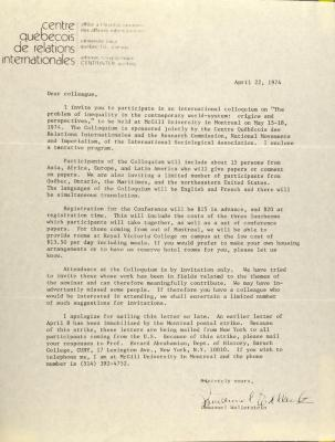 Correspondence from Centre Quebecois de Relations Internationales