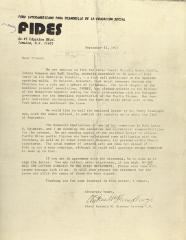 Correspondence from FIDES (Ford Interamericano Para Desarrollo de la Educacion Social)
