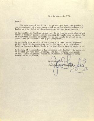 Correspondence from J.A. Gonzalez Gonzalez