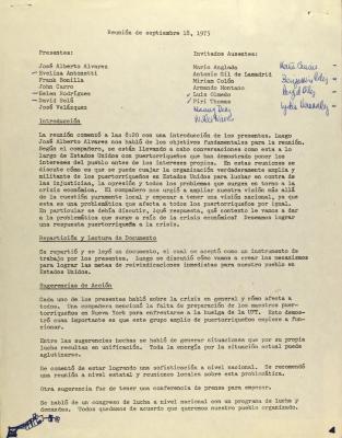 Reunión de Septiembre 18, 1975 / Meeting of September 18, 1975