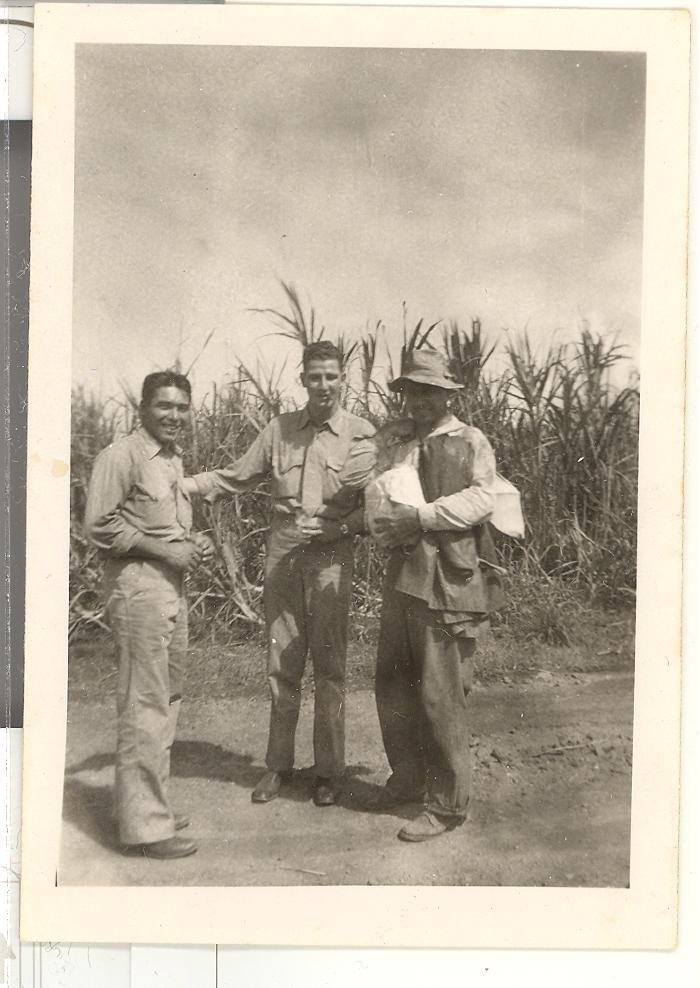 World War II Marine friends in sugar cane field