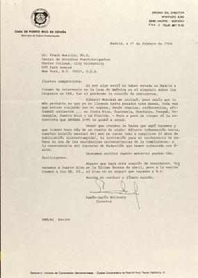 Correspondence from Casa de Puerto Rico en España