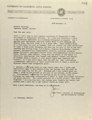 Correspondence from the University of California, Santa Barbara