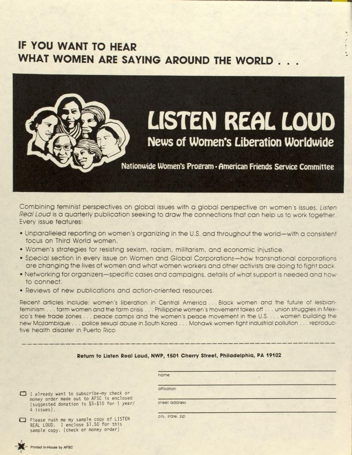 Listen Real Loud: News of Women's Liberation Worldwide