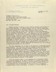 Correspondence from Teachers College, Columbia University