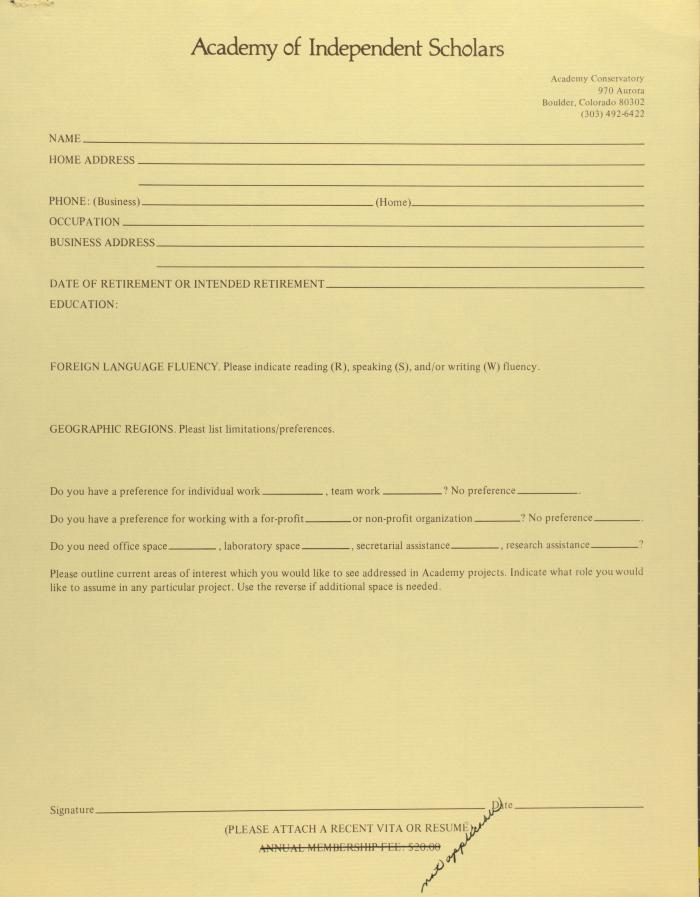 Academy of Independent Scholars - Membership Form
