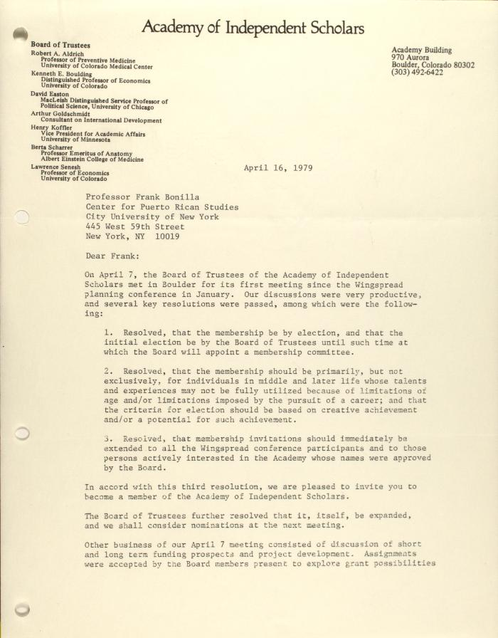 Correspondence from the Academy of Independent Scholars