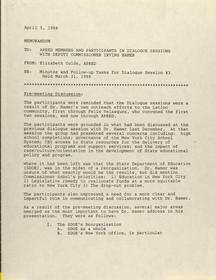 Correspondence from Elizabeth Colón of APRED