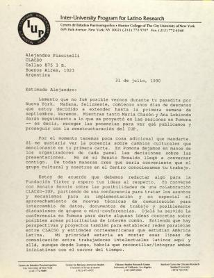 Correspondence from Frank Bonilla of the Center for Puerto Rican Studies