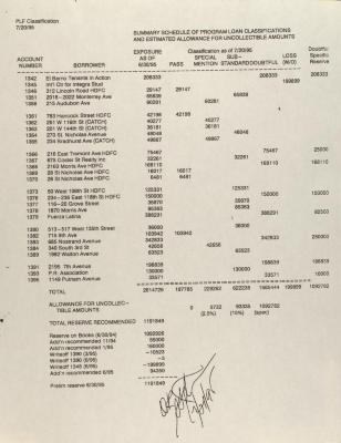 Summary Schedule of Program Loan Classifications and Estimated Allowance for Uncollectible Amounts