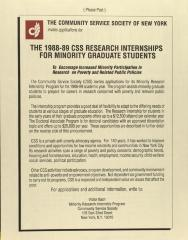 The 1988-89 CSS Research Internships For Minority Graduate Students