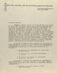 Correspondence from Centro de Estudios de la Realidad Puertorriqueña