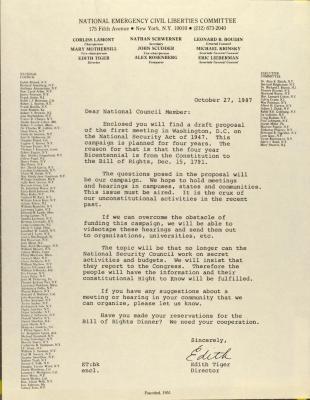 Correspondence from National Emergency Civil Liberties Committee