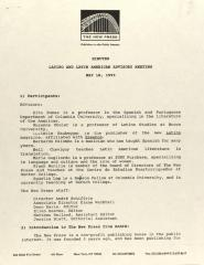 Latino and Latin American Advisory Meeting of The New Press  - Minutes