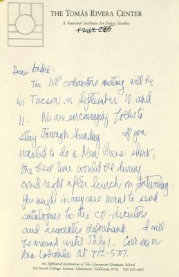 Correspondence from The Tomás Rivera Center