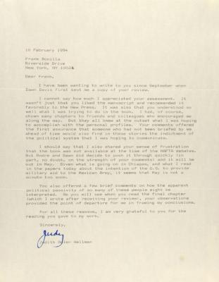 Correspondence from Judith Adler Hellman