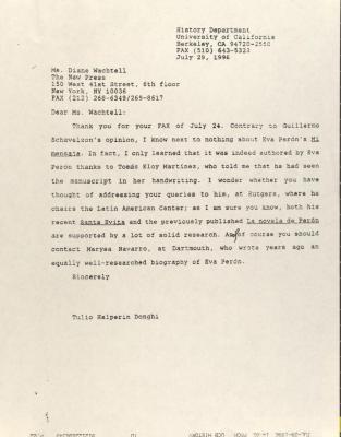 Correspondence from University of California, Berkeley