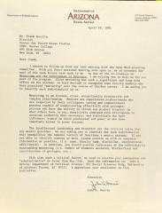 Correspondence from the University of Arizona