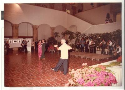 Attendees dancing during opening reception of Boricua Hawaiiana exhibit