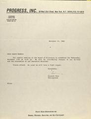 Correspondence from PROGRESS, Inc.