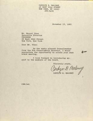 Correspondence from Carolyn B. Maloney