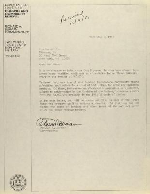 Correspondence from New York State Division of Housing and Community Renewal