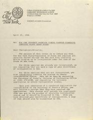 Correspondence from New York City Human Resources Administration, Community Development Agency