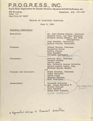 PROGRESS Inc. - Board of Directors Committee