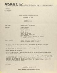PROGRESS, Inc. - Annual Board of Directors Meeting - Minutes