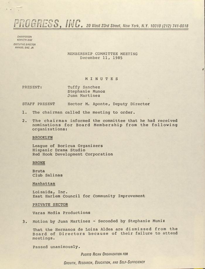 PROGRESS, Inc. - Membership Committee Meeting - Minutes