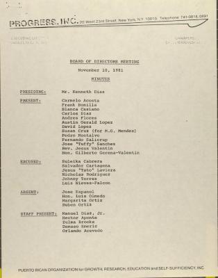 PROGRESS, Inc. - Board of Directors Meeting Minutes