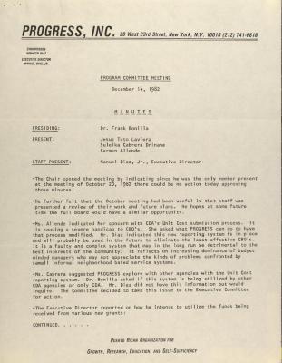 PROGRESS, Inc. - Program Committee Meeting - Minutes
