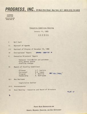 PROGRESS, Inc. - Executive Committee Meeting - Agenda
