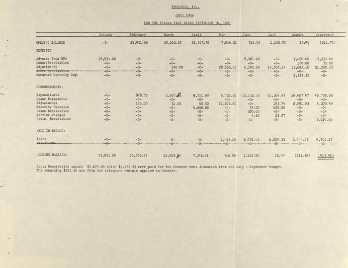 PROGRESS, Inc. - Cash Flow For the Fiscal Year Ended September 30, 1981