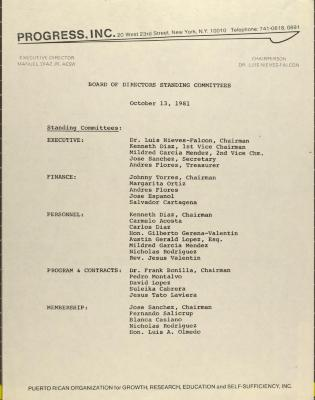 PROGRESS, Inc. - Board of Directors Standing Committees