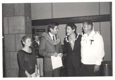 Blase Camacho, George Ariyoshi, Tee Kranz, and Raymond Pagon during Boricua Hawaiiana exhibit