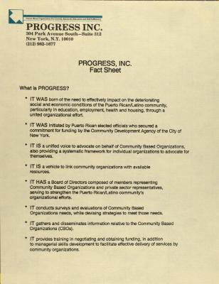 PROGRESS, Inc. - Fact Sheet