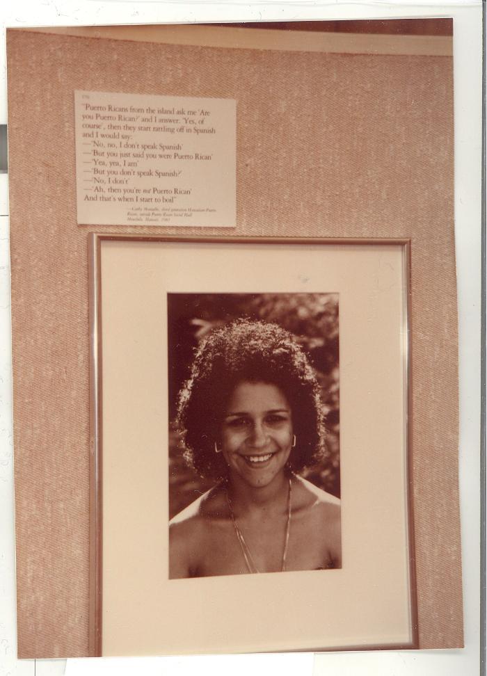 Boricua Hawaiiana exhibit piece featuring Cathy Montalbo