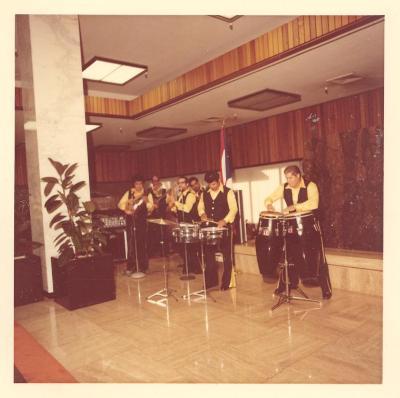 Los Jíbaros playing during the opening of the Boricua Hawaiiana exhibit