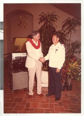 """Frank Espada and a colleague at the """"Diaspora Reception"""""""