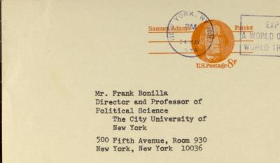 Correspondence from the Rockefeller Foundation